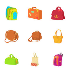 Travel baggage icons set cartoon style vector