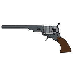 Vintage long american handgun vector