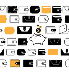 Wallet or pocketbook icon seamless borders or vector