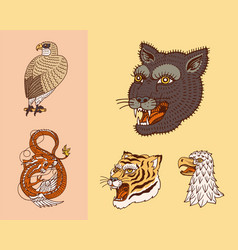 wild vintage animals logo for t-shirt asian vector image