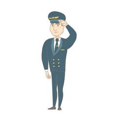 Young caucasian pilot saluting vector