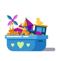 Children toys in box with hearts or chest vector image vector image