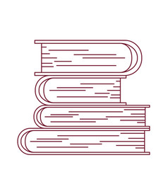 dark red line contour with stack of books vector image
