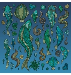 Hand crafted collection of fishes and creatures vector