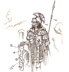 Roman warrior hand draw vector