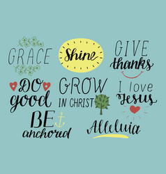 set of 8 hand lettering christian quotes with vector image vector image