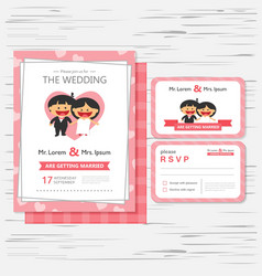 Wedding invitation template cartoon design vector image