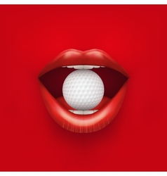Background of womans open mouth with golf ball in vector