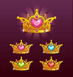 cool princess crowns set vector image vector image