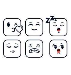 cute emoji emoticons emotional faces icons vector image