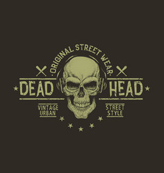 street style label of skullprints design vector image vector image