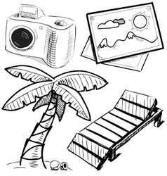 Vacation objects collection vector image vector image