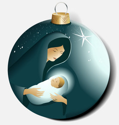 Christmas ball with Maria and Jesus vector image vector image