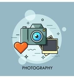 Photo camera printed photos and heart vector image