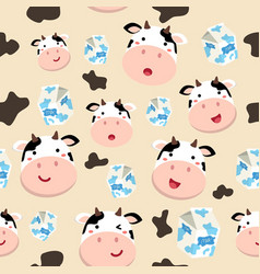 seamless pattern cute cow and milk carton vector image