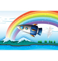 A spaceship near the rainbow above the ocean vector image