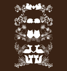 Animals Of Fall Lace Borders Collection vector image