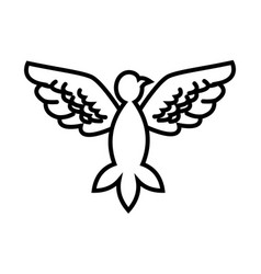 dove peace flying wings symbol outline vector image vector image