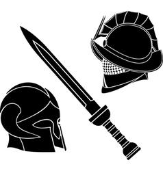 gladiators helmets and sword vector image vector image