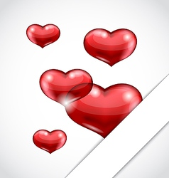 Valentines day background with set hearts vector image