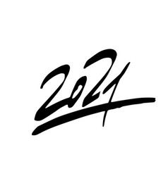 2021 year brush lettering isolated on a white vector image