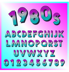 80s retro font template set letters and vector