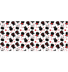 a pattern with small brown dogs with red hearts on vector image