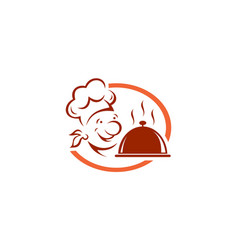 abstract chef cooky food bakery logo design icon vector image