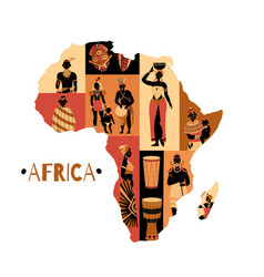 African culture continent composition vector