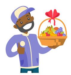 African delivery courier delivering fruit basket vector