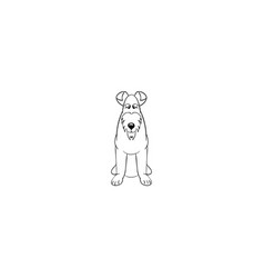 Airedale terrier cartoon dog icon vector