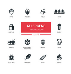 Allergens - modern simple thin line design icons vector