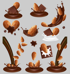 almond nut in chocolate splash realistic vector image