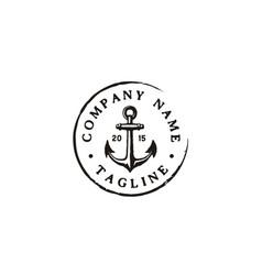 Anchor rustic vintage retro boat stamp label logo vector