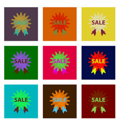 Assembly of flat shading style icon sale label vector