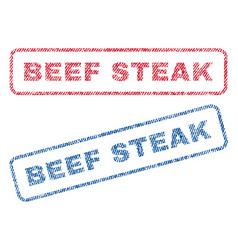 Beef steak textile stamps vector