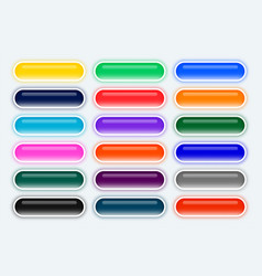 Big set rounded web wide buttons vector