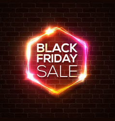 black friday design neon sign web hexagonal logo vector image