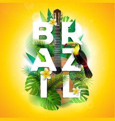 Brazil typography with toucan vector