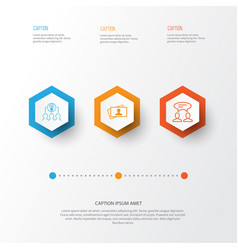 Business icons set collection of collaborative vector