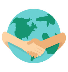 businessmen shaking hands around globe vector image