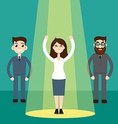 Businesswoman in spotlight vector