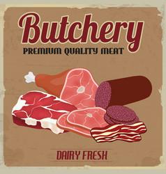 Butchery retro poster vector