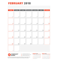 calendar template for 2018 year february business vector image