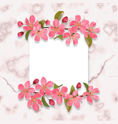 Card template with pink cherry blossom on marble vector