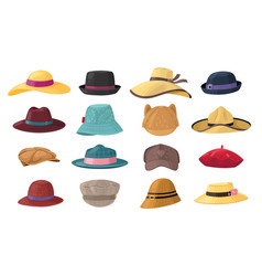 cartoon hats stylish man and woman headwear vector image