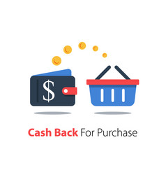 Cash back for purchase wallet with dollar sign vector