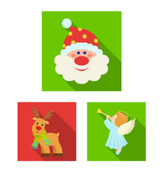 Christmas attributes and accessories flat icons in vector