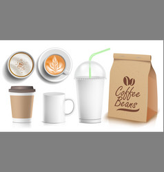 coffee packaging template design white vector image