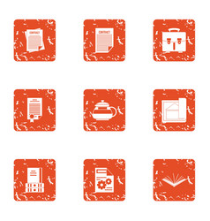 Compromise solution icons set grunge style vector